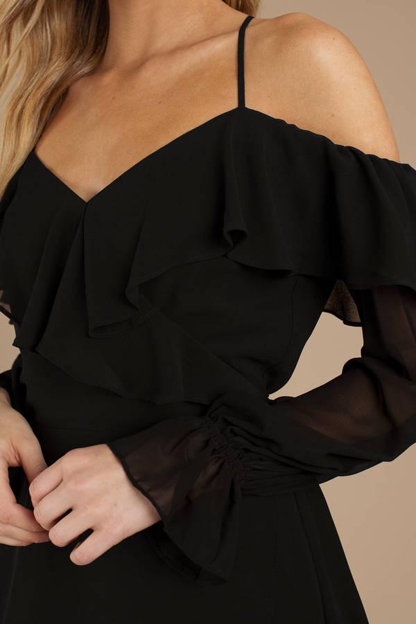 Black Dress Evening Dress Black Cold Shoulder Dress Halter