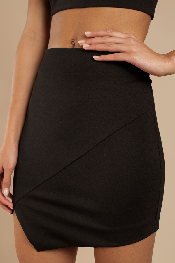 Black Skirt - Black Skirt - Asymmetrical Skirt - $48.00