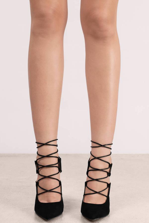 Trendy Black Heels - Lace Up Heels - Suede Heels - Pointed Toe ...