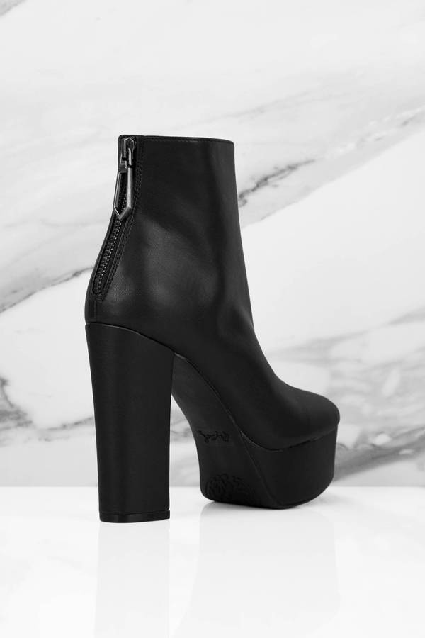 b46c328d10f Lovely Black Boots - Zip Up Booties - Black Platform Boots -  76 ...