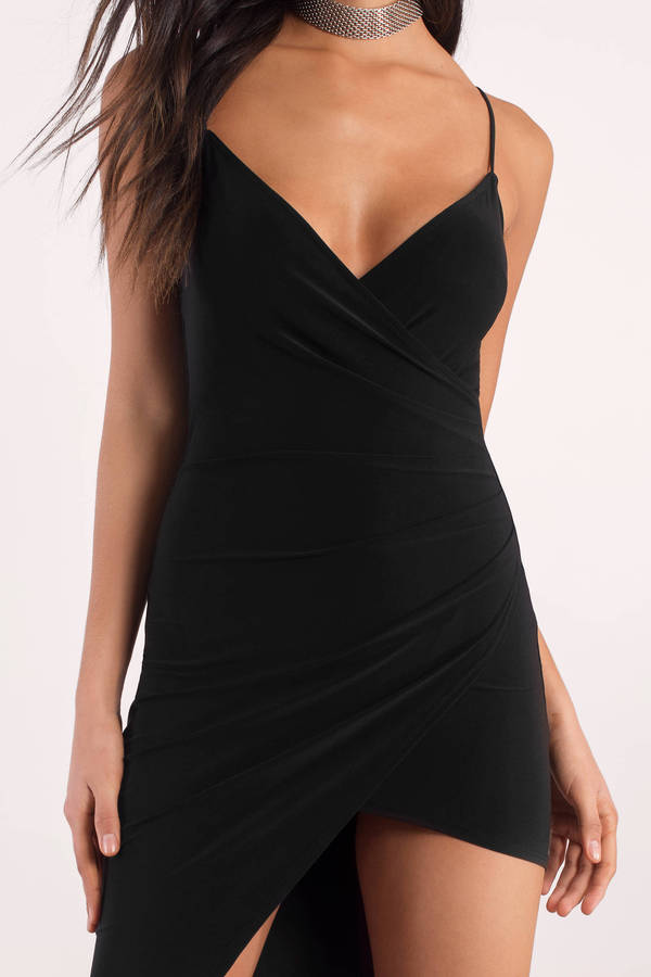 Maddie Black Asymetrical Bodycon Dress