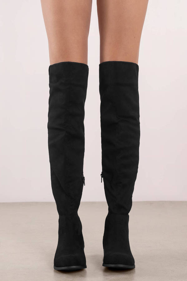 8734ed83a51f Black Boots - Flat Over The Knee Boots - Black Rounded Toe Boot ...