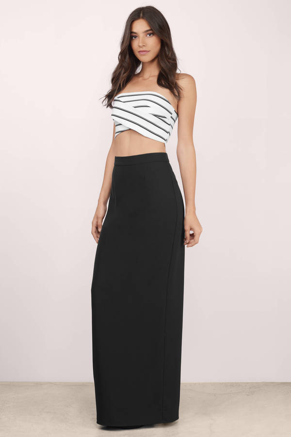 Trendy Black Skirt High Waisted Skirt Maxi Skirt
