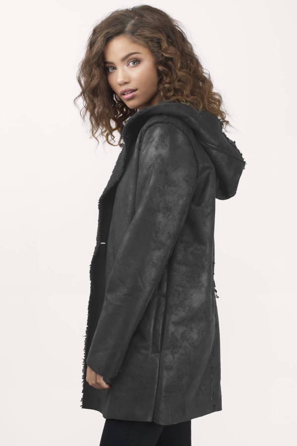 Cheap Black Coat - Black Coat - Open Front Coat - $39.00