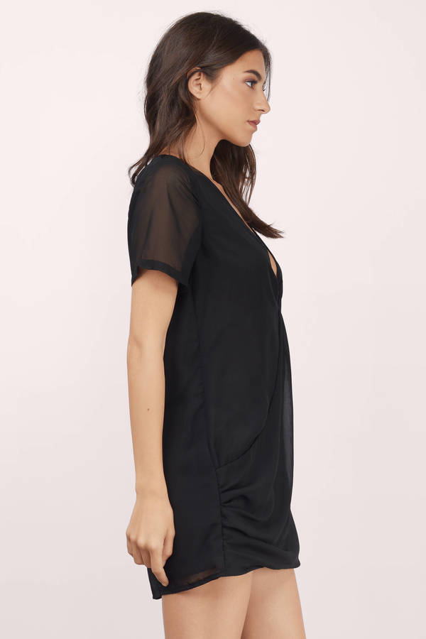 Sexy Black Shift Dress - Black Dress - Draped Dress - $48.00