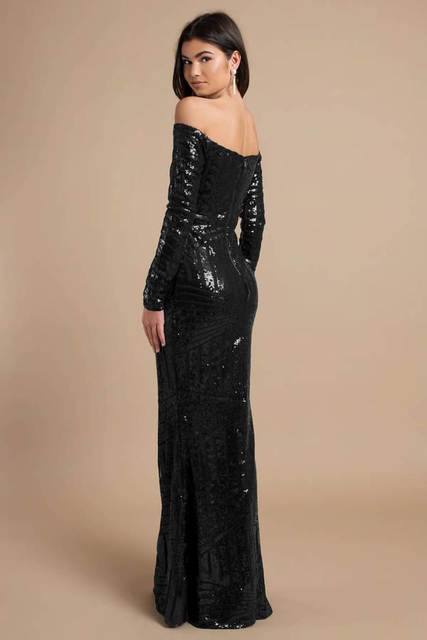 Black Maxi Dress - Glitter Maxi Dress - Black Off Shoulder