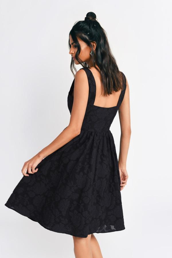 8360e85c42 Trendy Black Skater Dress - Floral Print Dress - Skater Dress -  20 ...