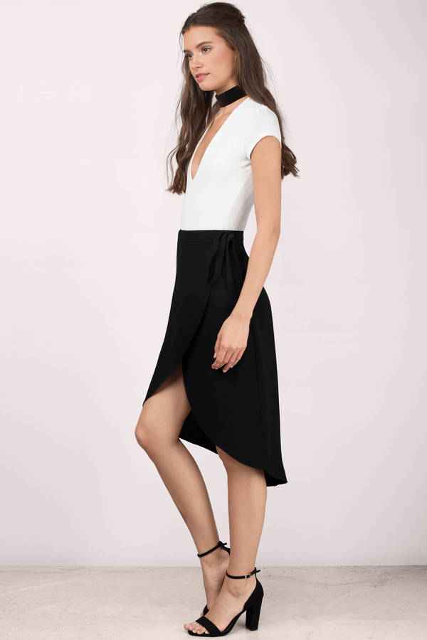 Cute Black Skirt - High Low Skirt - Midi Skirt - Black Skirt - $48.00