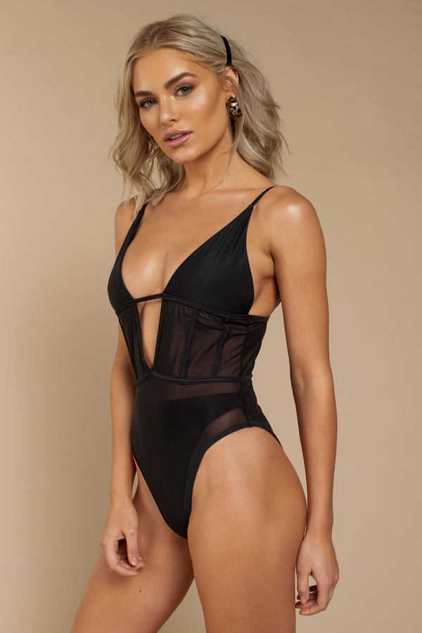 09c321453075f Mesh Around Black One Piece Swimsuit Mesh Around Black One Piece Swimsuit  ...