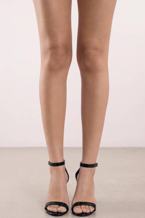 Trendy Black Heels - Formal Leather Heels - Black -9209