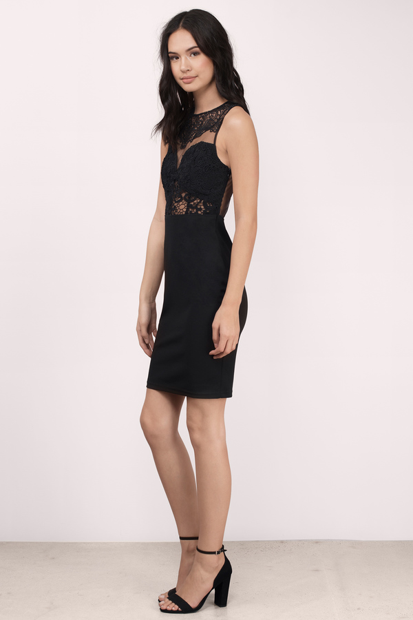 Cute Black Dress - Lace Tank Dress - Half Lace Dress - Bodycon Dress ...