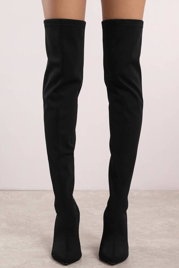 e6ce89323fa Mixed Signals Satin Thigh High Boots