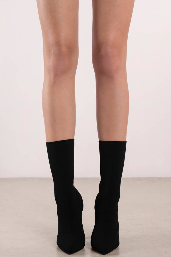 Chic Black Boots Heeled Sock Boots Black Sleek Boots