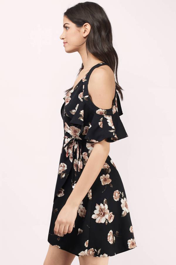 ... Cold Shoulder Dress · J.O.A. Joa Cassia Black Multi Floral Wrap Dress  J.O.A. Joa Cassia Black Multi Floral Wrap Dress ... c56375bbc