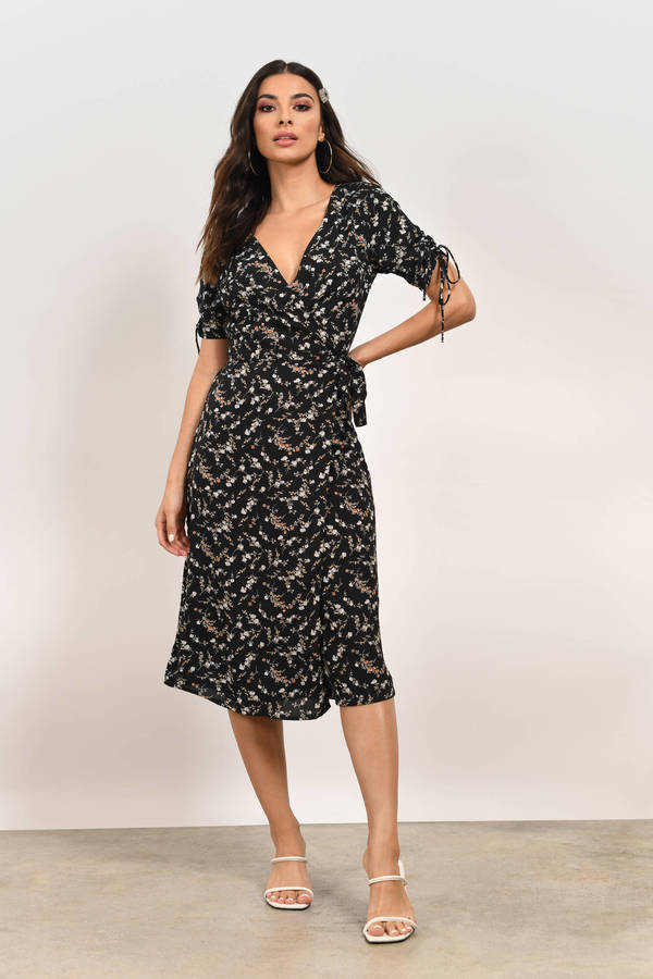 Floral Around Wrap Midi Dress