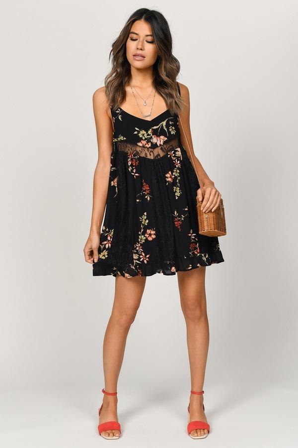 523e4048 ... Tobi Spring Dresses, Black Multi, Hannah Floral Print Dress, Tobi