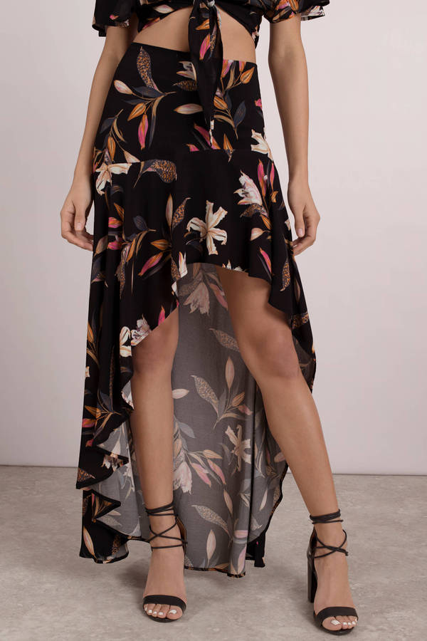 6616345e90 Black Beach Riot Skirt - Hi Low Maxi Floral Skirt - Black Maxi Skirt ...