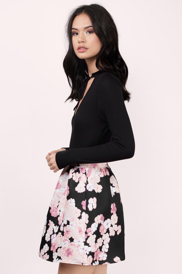 Sweet Endings Black Multi Floral Skater Skirt