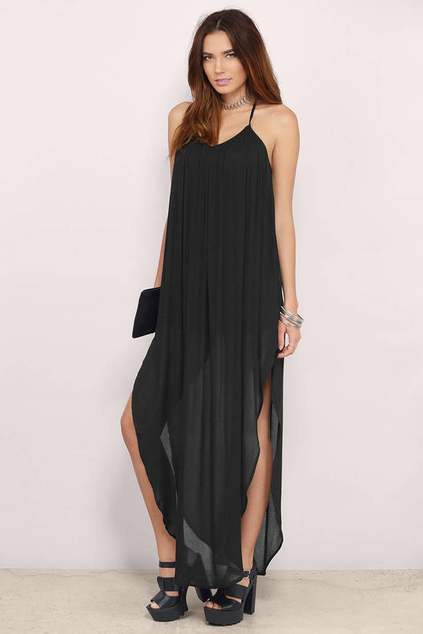 Trendy Black Maxi Dress High Low Dress Maxi Dress