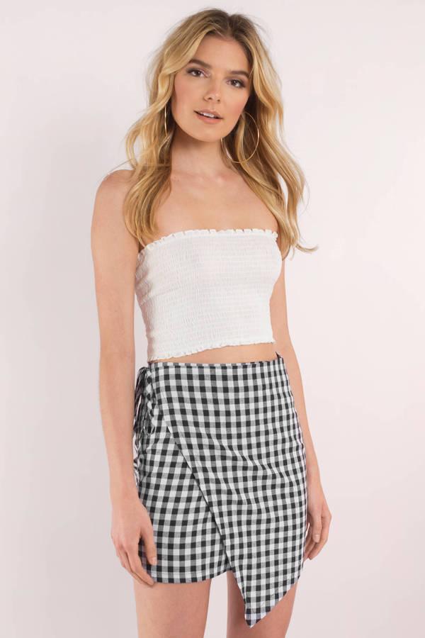 468990cc0a9196 Black Reverse Skirt - Wrap Skirt - Black Gingham Skirt - $60 | Tobi US