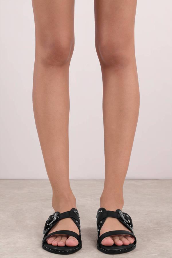 966f0fb10f9b ... Lust For Life Lust For Life Notion Black Leather Studded Slip On Sandals  ...