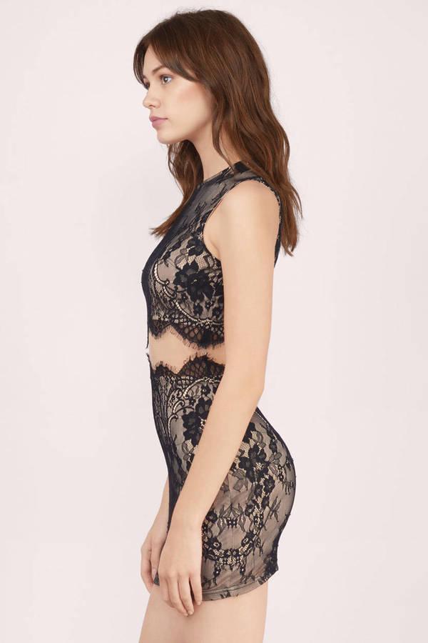 Black Nude Bodycon Dress Black Dress Mesh Dress Bodycon