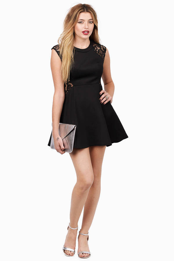 Black Skater Dress - Black Dress - Crew Neck Dress - $10.00