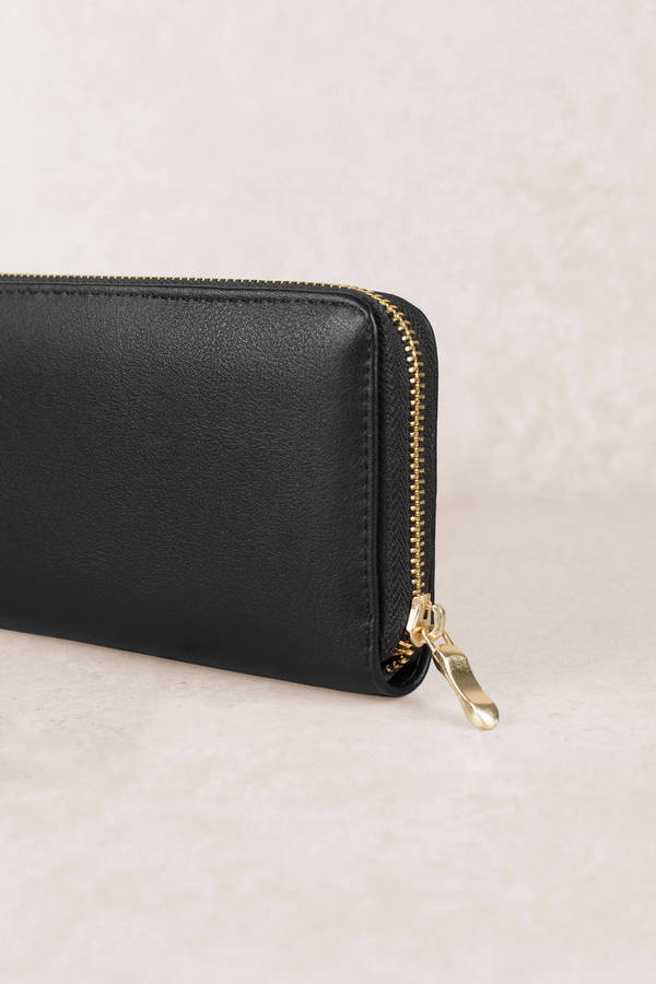 On My Mind Black Faux Leather Wallet by Tobi