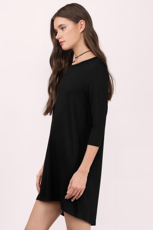 Black Shirt Dress - Long Sleeve Dress - Long Dress Shirt - Day ...