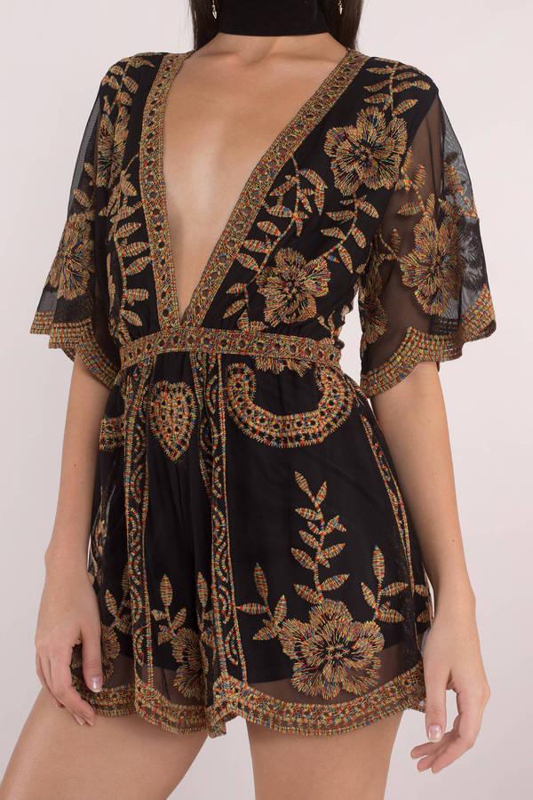 8ee6eacf045 Black Romper - Plunging Romper - Black Floral Romper - Embroidered ...