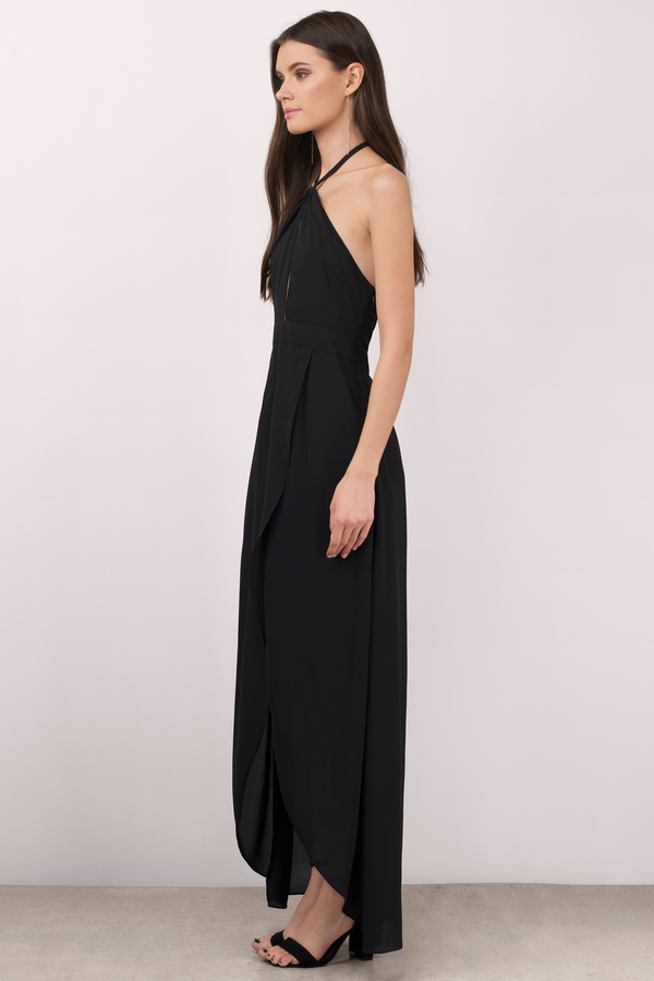 Long black halter dress