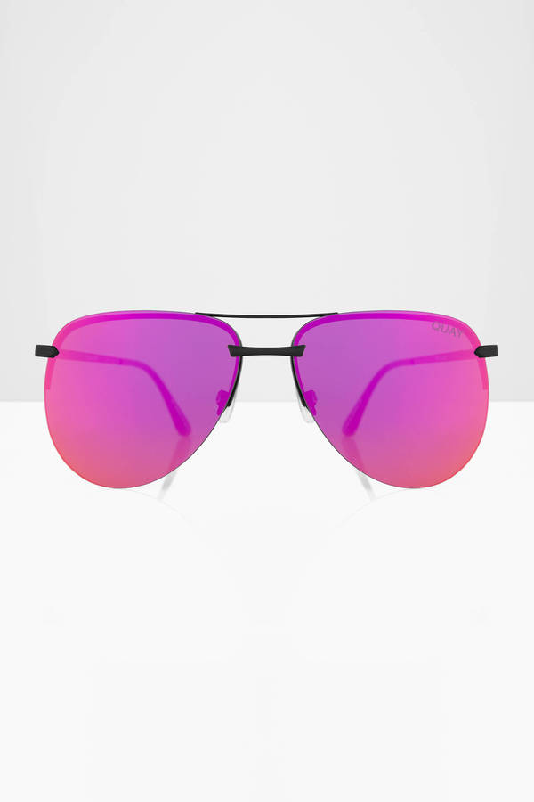 Quay Pink Sunglasses  the playa black pink mirrored aviator sunglasses 60 00 tobi