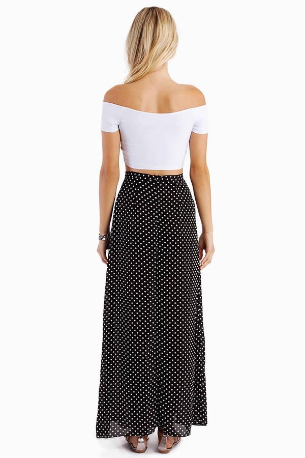 Dot Them Maxi Slit Skirt