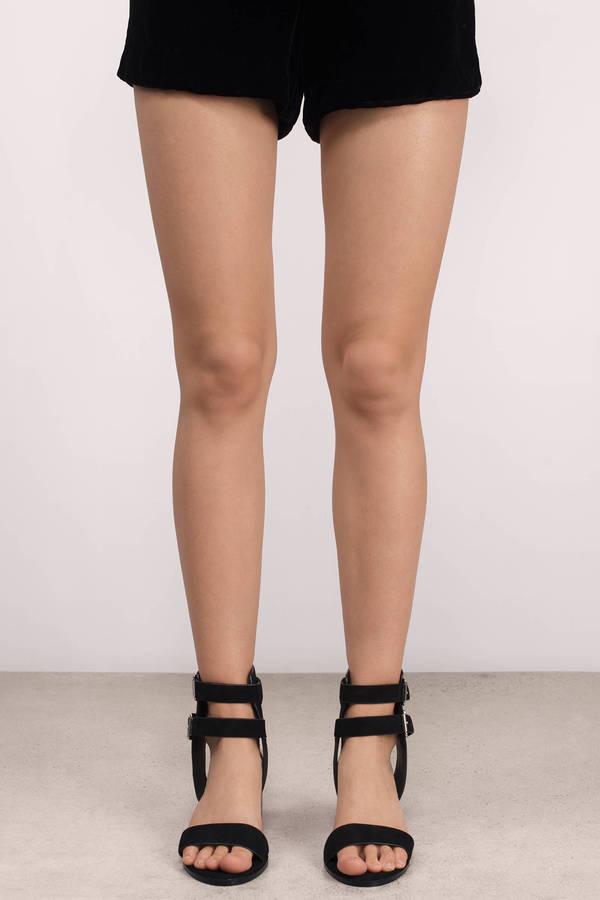 6bb9ed466f0ce Black Heels - Chunky Heels - Open Toe Heels - Double Strap Heels ...