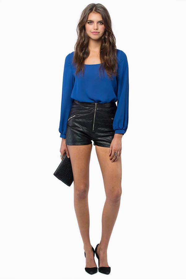 Quilted Zip High Waist Shorts