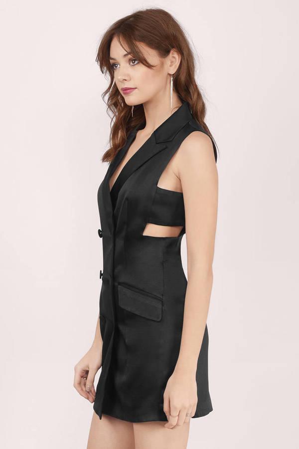 Cute Black Bodycon Dress - Black Dress - Satin Dress - $18.00