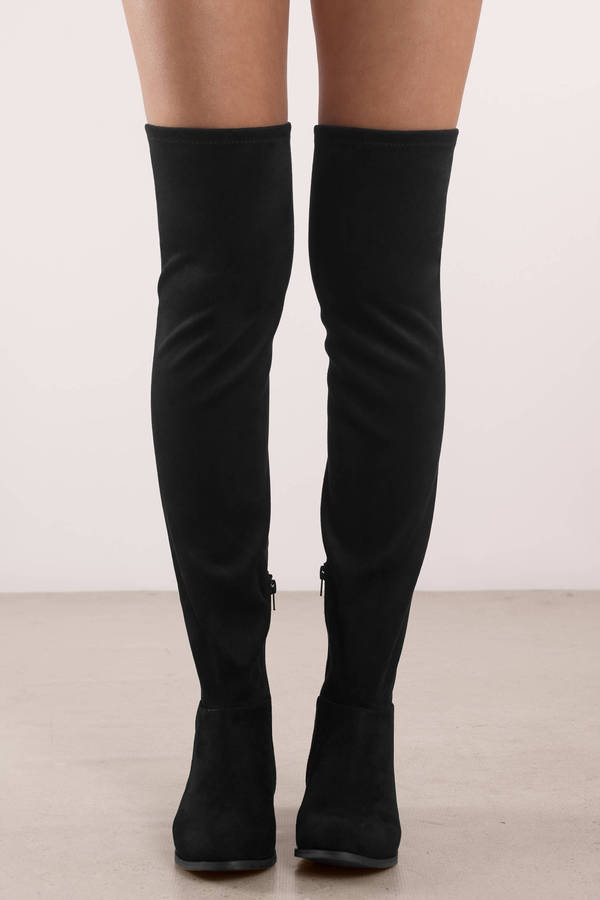 eb62dbc473c10 Black Chinese Laundry Boots - Flat Suede Boots - Tall Black Formal ...