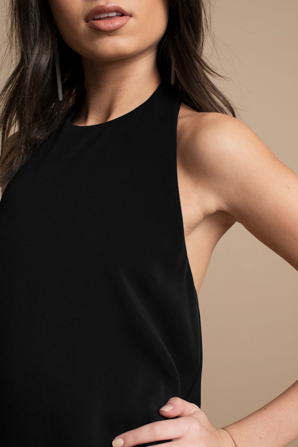 Black Shift Dress - Backless Dress - Black Dress - $56