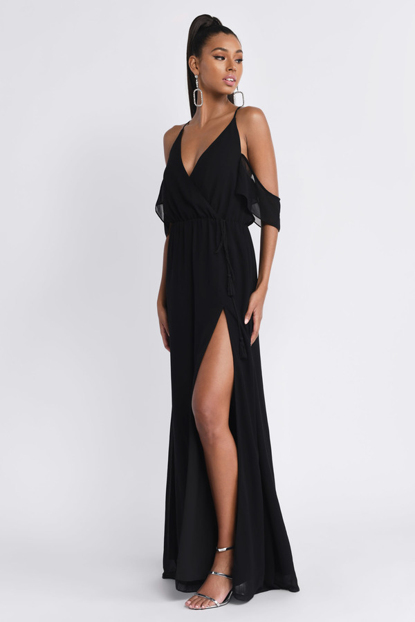 Lovely Black Maxi Dress Slit Dress Black Dress Maxi Dress