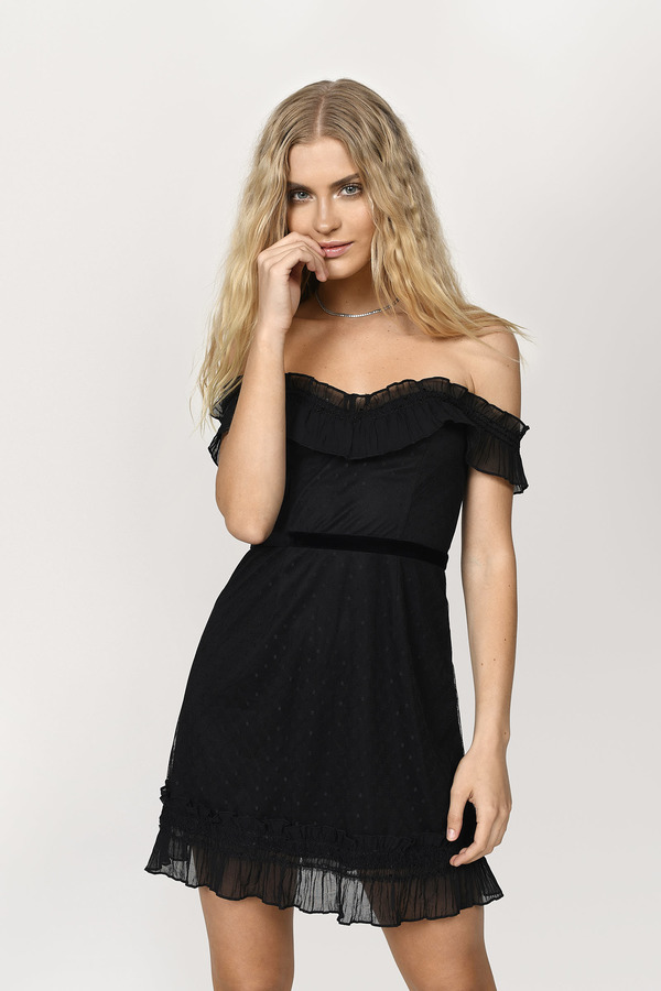 cfe6f0c7c4 ... Tobi Little Black Dresses, Black, Sadie Off Shoulder Dotted Mesh Skater  Dress, Tobi