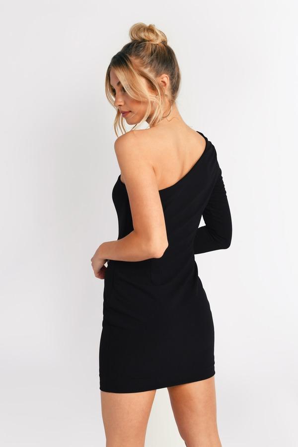 Black Bodycon Dress One Shoulder Bodycon Black Lace Up Dress