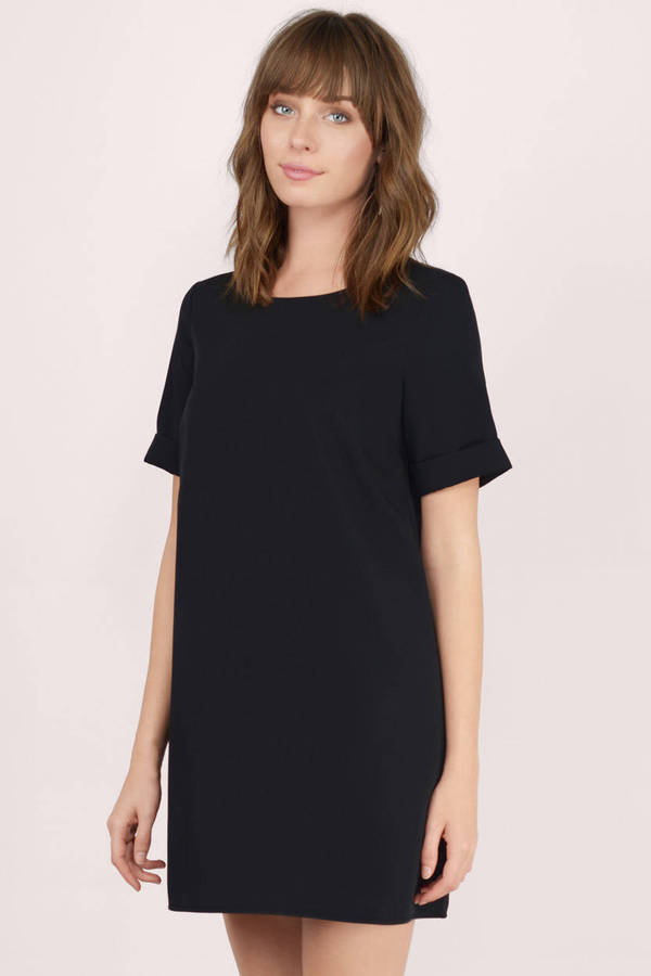 Black Shift Dress - Black Dress - Short Sleeve Dress - $58.00