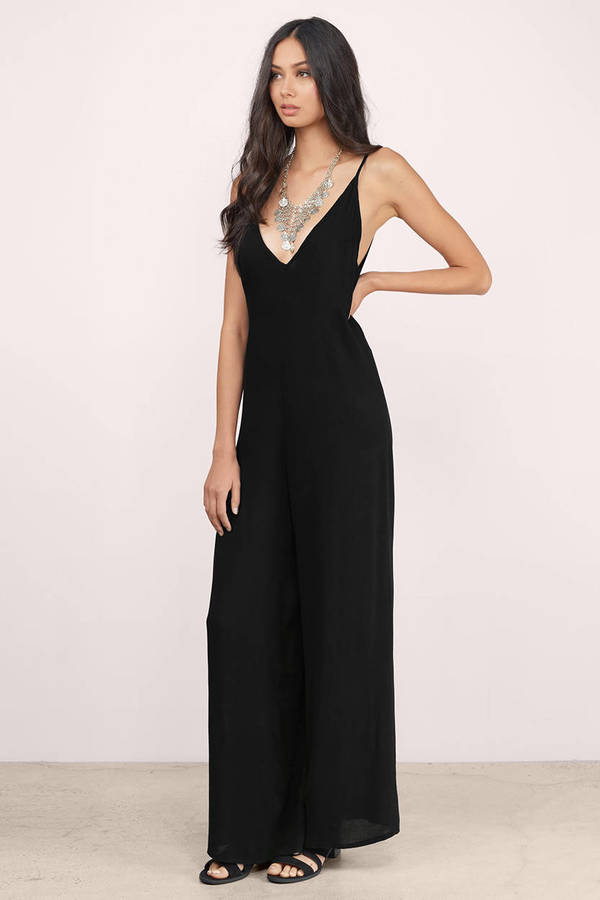 Cheap Black Jumpsuit - Wide Leg Jumpsuit - $9.00