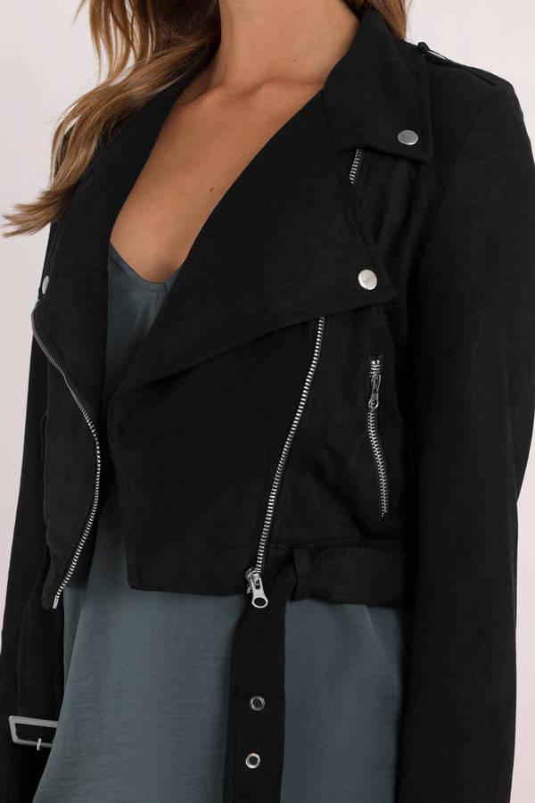 005f961ddac Black Jacket - Faux Suede Biker Jacket - Black Casual Jacket - $120 ...