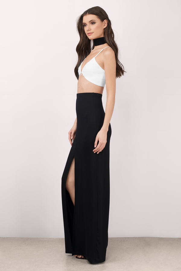 Sexy Black Skirt - Front Slit Skirt - Maxi Skirt - Black Skirt ...