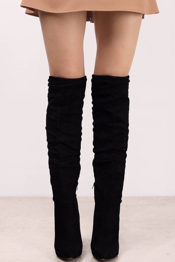 Black Boots - Black Boots - Stiletto Heel Boots - $110.00