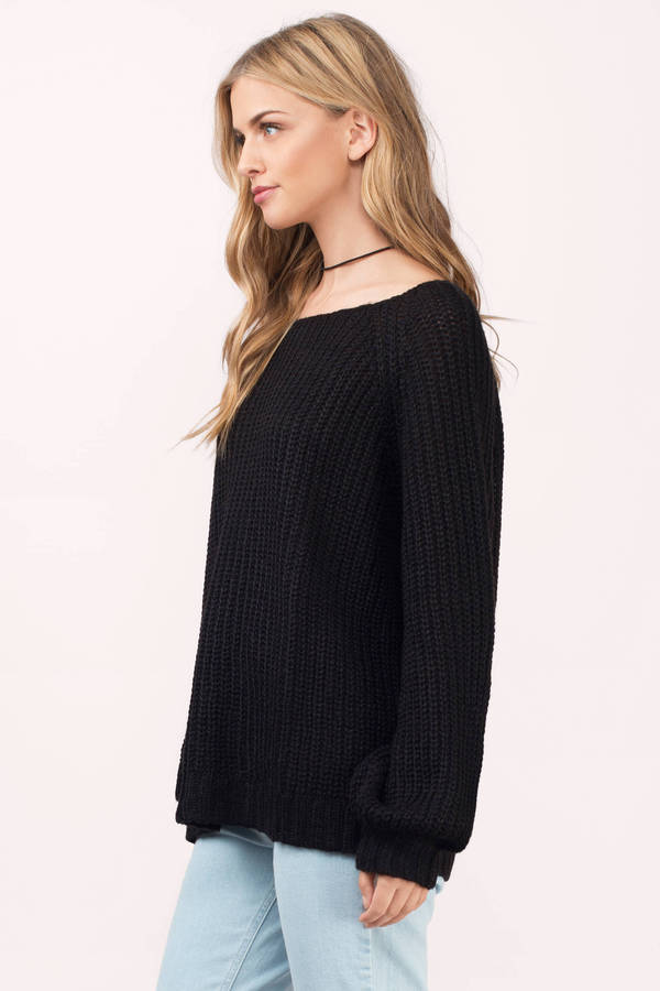Black Sweater - Blouson Sweater - Knitted Sweater - Oversized ... 1ec9bee19