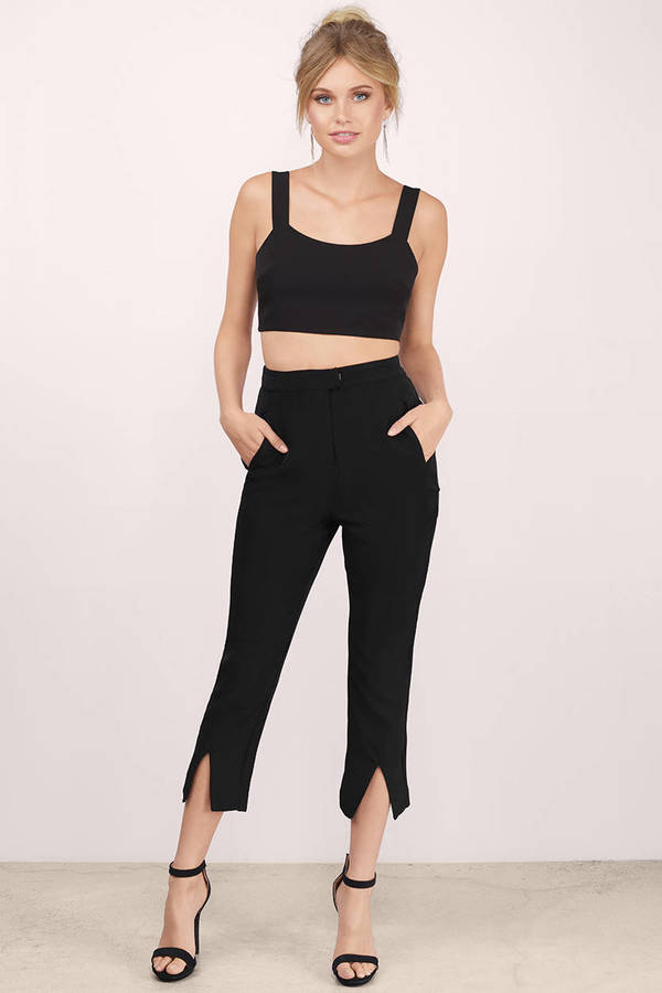 cc9b4800b3511 Black Pants - Front Slit Pants - High Waisted Pants - Black Trousers ...