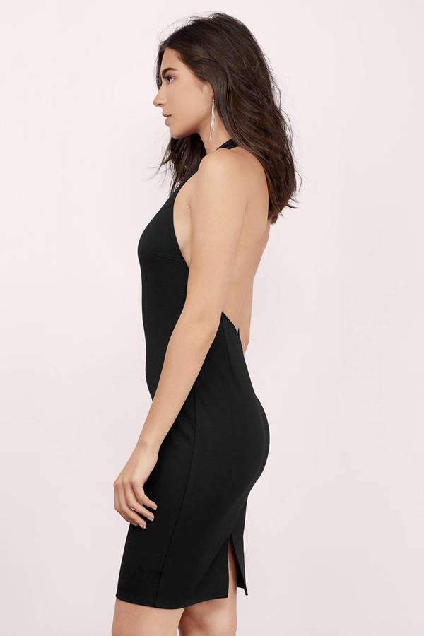 Sexy Black Midi Dress - Backless Dress - Black Dress - $11.00