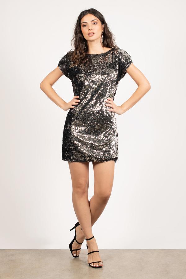 880a8cc8572 Black Shimmer Dress - Sequin Cocktail Dress - Black Party Dress - S ...